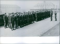 Some of the first conscripts, in 1957, outside their barracks.
