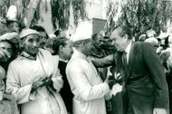 Richard Nixon greets the locals during his private visit to Morocco