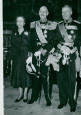 Queen Louise Mountbatten, King Hakon VII of Norway and King Gustaf VI Adolf