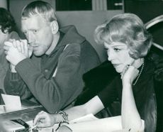 "Actress Signe Hasso and Max von Sydow at the review of Pirandello's ""Giants on the Mountain""."