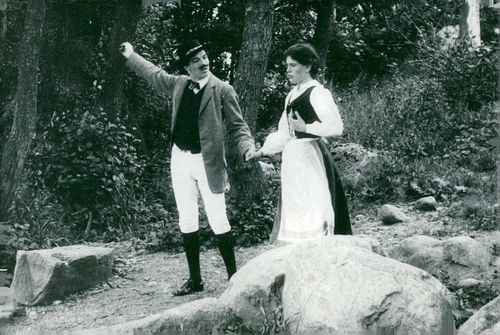 "Filmstaden in Råsunda. Georg Dalunde and Ellen Ströbäck in ""Värmlänningen"" from 1909"