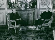 Harold Wilson talking to Charles de Gaulle at the Elysee Palace, Paris, 1965.