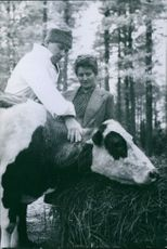 Finnish veterinarian Westermark one of the women Finnish barnyard school. 1944