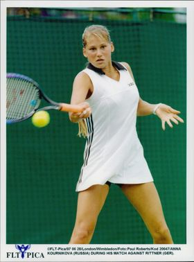 Anna Kournikova (Russia) plays against Barbara Rittner (Germany) in the Wimbledon Championship