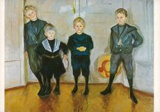 "Edvard Munch's color image on postcard ""Dr Linde's sons"""