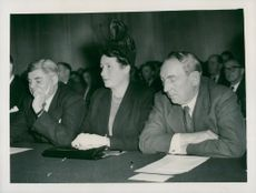 Aneurin Bevan and James Griffiths during the labor congress in Morecambe