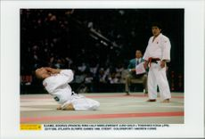 France's Djamel Bouras wins gold in Judo against Japan's Toshihiko Koga during the 1996 Olympic Games