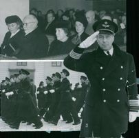 Colonel Lieutenant B. Schyberg makes a salute at Södermanland's naval fleet F11, celebrating a visit to the Nicolaic Church - 20 December 1941