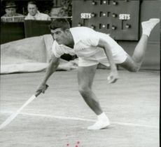 Australian tennis player Ronald McKenzie during match against British Bobby Wilson in Wimbledon