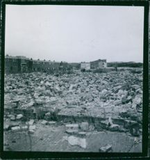 German occupation in Holland 1945 Destructed and destroyed buildings after the war, scattered bricks and stones.