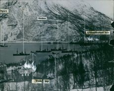 Illustration of Battle ships during the battle of Narvik 1940.