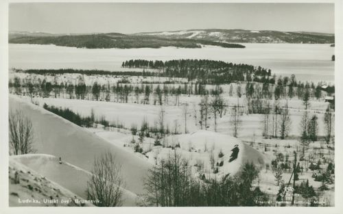 Ludvika. View over Brunnsvik. Winter picture postcard