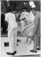 Princess Margaret shoveling