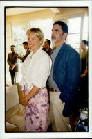 Sharon Stone and Phil Brownstein attend a private garden party at Harrison Ford and Melissa Mathison