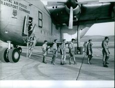 Soldiers getting off from the airplane in Lebanon.