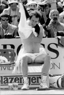 John McEnroe during the final against Ivan Lendl in French Open 1984