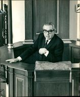 Lord George Brown speaking from the pulpit of St Mary-le-Bow