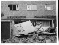 The result of a serious blasting accident in Nynäshamn center