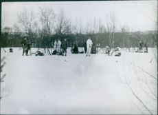 Norwegian forces in the snow fixing some traps for the German soldiers 1940
