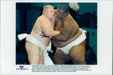 The world's heaviest summons protector Emmanuel Yarbrough (th) from New York wrestles against German Sumon Torsten Scheibler.