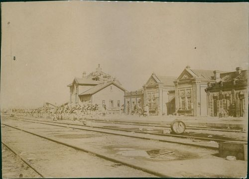 Old photo of a train station in Germany.