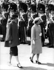Queen Elizabeth II along with Queen Margrethe during the visit to Denmark