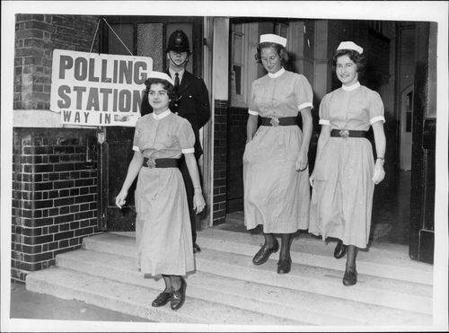 Nurses from Westminster Hospital leave the hall.