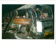 The Beaune coach crash:view of the damages slovak bus.
