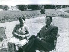 Andrei Gromyko and Lydia Gromyko sitting in their garden on weekend. 1959.