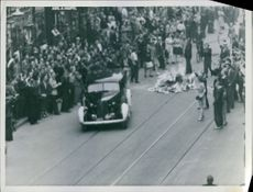 People gathered on the street and demonstrating against the German occupation in Denmark.