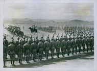 Egyptian Cavalry and Infantry marching past at a Review, 1914.