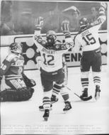 Canada - Finland. Bob Joyce and Serge Beisvert after a goal against Finland