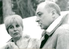 French actress Michèle Morgan with Gerard Oury