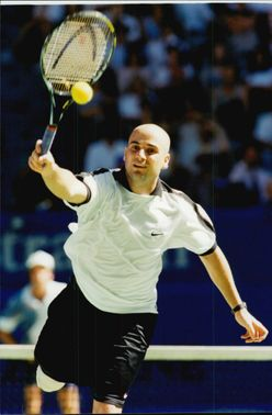 Andre Agassi participates during the Australia Open.