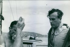 Louis Mountbatten dressing for his glide under the sea.