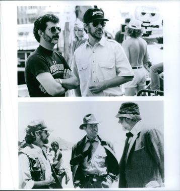 Steven Spielberg, George Lucas, Harrison Ford and Sean Connery on the set of Indiana Jones and the Last Crusade.
