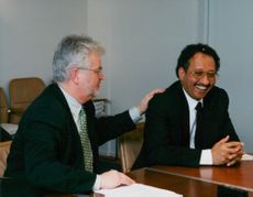 OK Vice President Lars Hjorth congratulates Dr Ghazi Habib on the purchase of OK Petrolium to Sheikh Mohammed Al-Amoudi