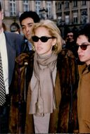 Actress Sharon Stone wearing long fur coat