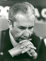 Italy's prime minister Aldo Moro at a congress with Democrazia Cristiana