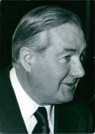Portrait of former British Prime MinisterJames Callaghan while he looking at something with smiling face