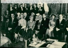 Prince Rainier and Grace Kelly's bourgeois wedding ceremony. Bride's parents Mr and Mrs Kelly t.h. on the first row of chairs
