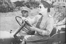 Mary Churchill, daughter of Winston Churchill driving Jeep.