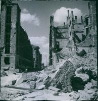 A wreckage of the building after the war in Poland.