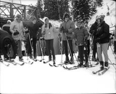 Ethel Skakel enjoying skiing with friends.
