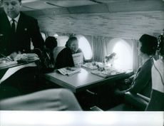 Nina Khrushcheva having a meal on a flight.