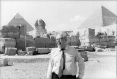 Mstislav Rostropovich visits the pyramids after a concert in Egypt