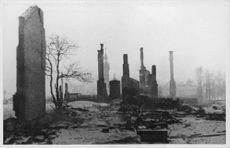 Homes in finish town being destroyed.1940