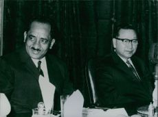 North Korea's Vice President Kang Ryang-Uk (right) at a farewell dinner with President Qahtan Ashaabi of the Republic of South Yemen during a workers' delegation.