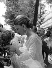 Princess Irene of the Netherlands holding flowers in Sevilla. 1967.