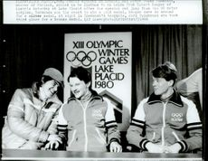 The medalists in the ski jump Hubert, Jouko Tormanen and Jari Puikkonen during the 1980 Winter Olympics